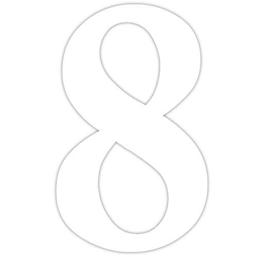 Zahlen-Aufkleber Nr. 8 in weiß I Höhe 40 cm I selbstklebende Haus-Nummer, Ziffer zum Aufkleben für Außen, Tür I wetterfest I kfz_466_8