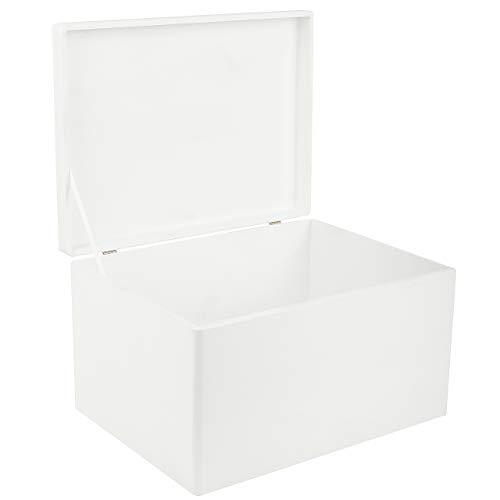 Creative Deco XXL Große Weiße Holzkiste mit Deckel | 40 x 30 x 24 cm | Kiste Holzbox Erinnerungsbox Holz-truhe Aufbewahrungs-Box Spielzeugkiste Kasten | Ideal für Spielzeuge und Werkzeuge
