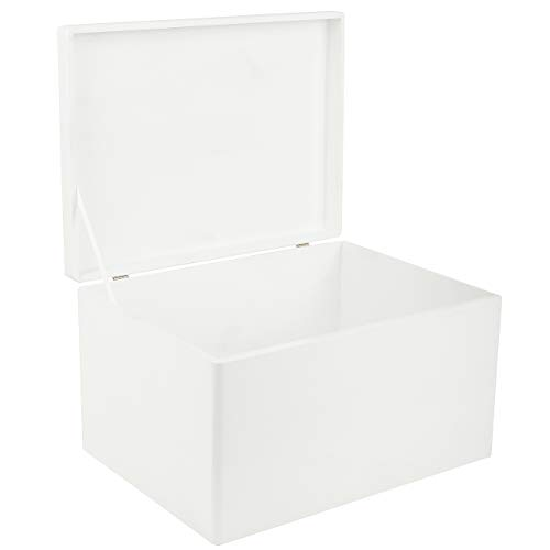 Creative Deco XXL Blanca Grande Caja de Madera para Juguetes | 40 x 30 x 24 cm (+/-1cm) | con Tapa Cofre para Decorar | para Almacenar Documentos, Objetos de Valor, Herramientas