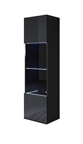 muebles bonitos Vitrina Luke V6 (40x165cm) Color Negro