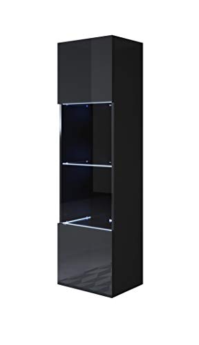 muebles bonitos Vitrina Luke V6 (40x165cm) Color Negro
