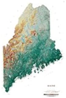 Raven Maps Maine Topographic Wall Map, Print on Paper (Non-Laminated)