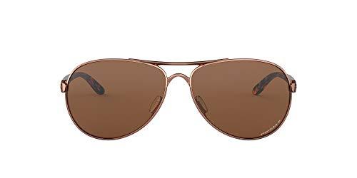 Oakley Gafas de sol para mujer OO4079 Feedback Metal Aviator, oro rosa/Prizm tungsteno polarizado, 59 mm