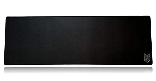 SoloQ Extended Size Gaming Mouse Pad - Anti Slip Rubber Base - Stitched Edges - Large Desk Mat - 36' x 12' x 0.16' (Extended, Black with Blue Logo)