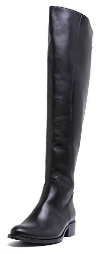 Justin Reece Overknee-Stiefel aus Leder mit Schnürung oben, Schwarz - Schwarz  - Größe: 41 EU