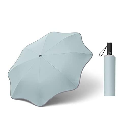 Ombrello di rivestimento pieghevole compatto per entrambi il sole e pioggia 3 volte Auto/Design chiuso con angolo tondo 8-RIB (Color : Bean green)