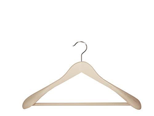 Holzbügel für Anzüge und Zweiteiler mit Steg, breit, 44 cm, natur, 5 Stück