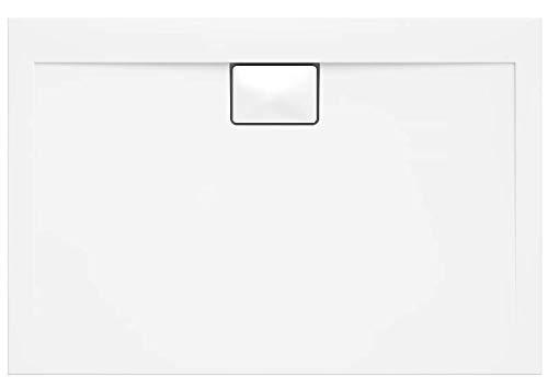 VBChome Duschwanne 120 x 90 x 4,5 cm sehr Flach Sanitär-Acryl Hochwertige Glasfaser verstärkte Wanne Form: Rechteck Eckig Weiß Alpineweiß Hochglanz Aufbau-Höhe: 4,5 cm