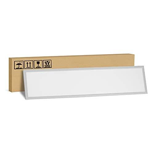 SBARTAR LED Panel Deckenleuchte (120x30cm, 40w, 4000Lm, 4000K, Neutralweiß) Silberrahmen Ultraslim Deckenlampe Rasterleuchten Büroleuchten mit Befestigungsmaterial und Trafo