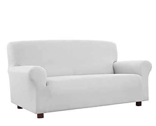 Banzaii Funda Sofa 4 Plazas Blanco – Elastica Antimanchas – Extensible de 200 a 260 cm - Made in Italy
