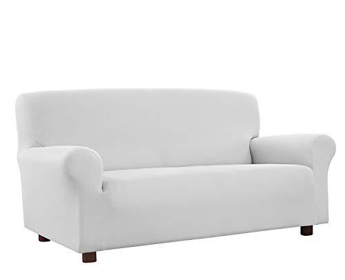 Banzaii Funda Sofa 2 Plazas Blanco – Elastica Antimanchas – Extensible de 100 a 150 cm - Made in Italy