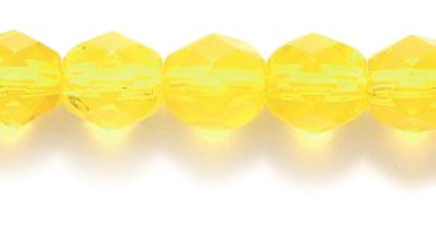 Preciosa Czech Fire 6 mm Faceted Round Polished Glass Bead, Transparent Medium Jonquil, 150-Pack