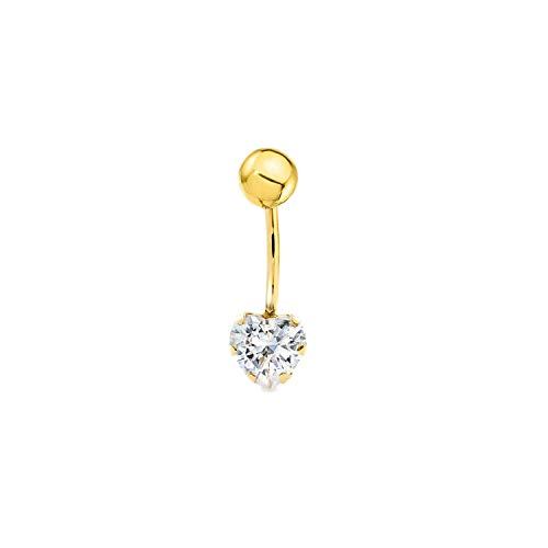 Piercing pour nombril coeur zircon or jaune 9 carats