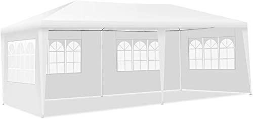 Gazebo da giardino 3 x 6 m con 4 pannelli laterali rimovibili e finestre, tenda foranea impermeabile per esterni (4 pareti laterali, bianco)