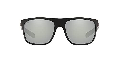 Costa Del Mar Men's Broadbill Square Sunglasses, Matte Black/Grey Silver Mirrored Polarized 580G, 61 mm