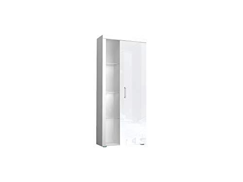Furniture24 Regal Samba mit Tür, Schrank, Wohnzimmerschrank, Vitrinenschrank (Weiß/Weiß Hochglanz)