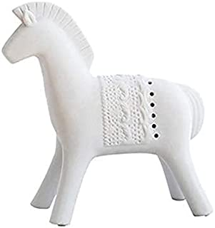 Nordic White Ceramic Faust War Horse Sculpture Modern Art Horse Statues for Home Soft Decoration Tabletop Figurines Access...