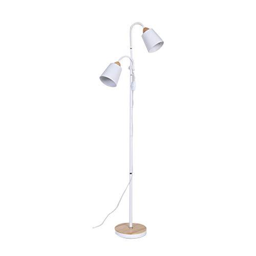 Vloerlamp wit dubbelkoppig ijzer Scandinavische eenvoudige hoge paal verlichting M02-07