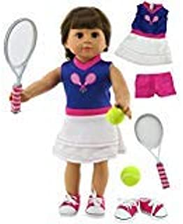 American Fashion World Purple & White Tennis Outfit Includes Shorts,Tennis Racket,Shoes,& Tennis Ball fits 18 inch Doll