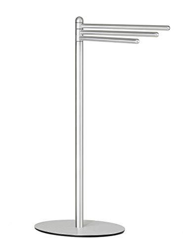 Cortesi Home Noli Contemporary 3 Swing Arm Towel Stand, Brushed Aluminum