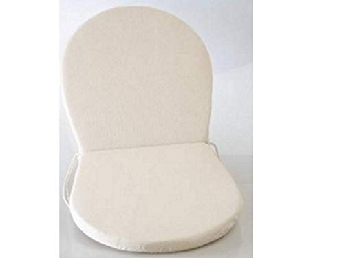 Set de 2 coussins d'extérieur pour chaise, fauteuil rond de jardin, couleur Écru -