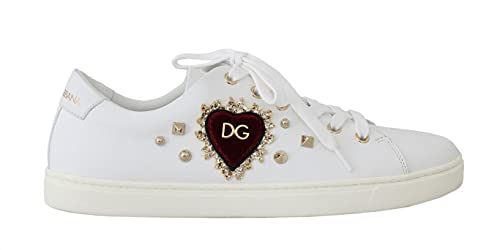 Dolce & Gabbana White Leather Gold Red Heart Sneakers Size 4.5