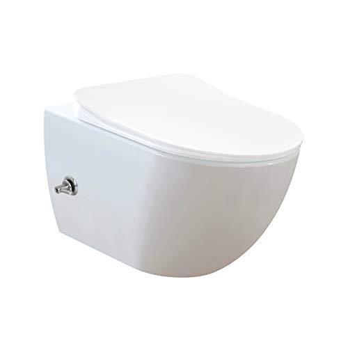 CREAVIT Dusch-WC Randloses Design Wand Hänge-WC Toilette inkl. WC-Sitz aus Duroplast mit Bidetfunktion und Hebelmische (warm-kalt) FE322-34