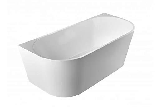 Freistehende Badewanne 170 x 75 cm weiß Wandmontage Gussmarmor