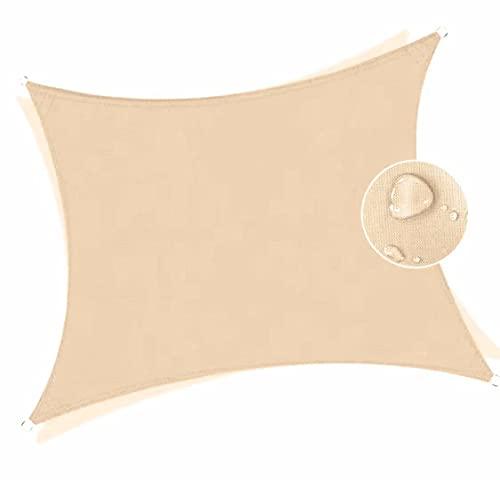 Toldo impermeable color crema 6 x 7 m protección de los rayos UV impermeable toldo de playa toldo parasol a medida con kit de fijación solar