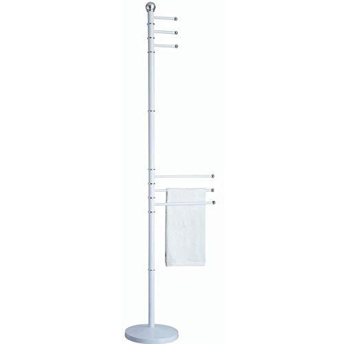 PiuShopping Piantana Porta Asciugamani Bagno da Terra, Salvaspazio, Alta Design Moderno, in Metallo Bianco - 6 Bracci
