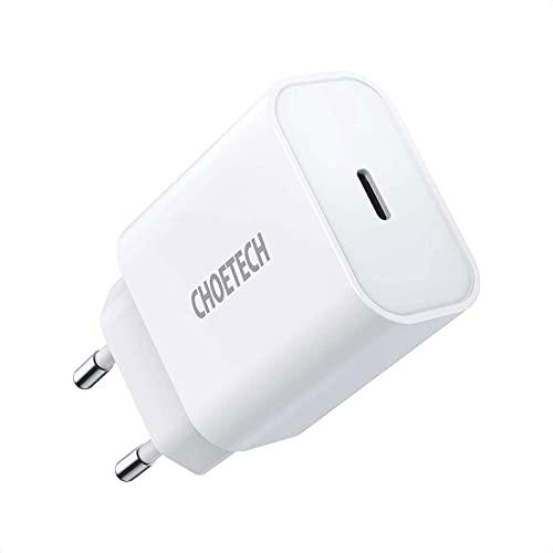 CHOETECH Caricatore USB C pre iPhone,PD 20W Caricatore da Muro Power Delivery 3.0 Caricatore Tipo C per iPhone 12/Mini/12 Pro/11/11 Pro/Xs Max/Xr/X/8 Plus/SE,AirPods/Pro,Galaxy S20/S10/S9,iPad Pro/Air