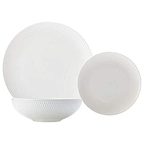 Maxwell & Williams White Basics Diamonds - Juego de cena (12 piezas, porcelana, porcelana), color blanco