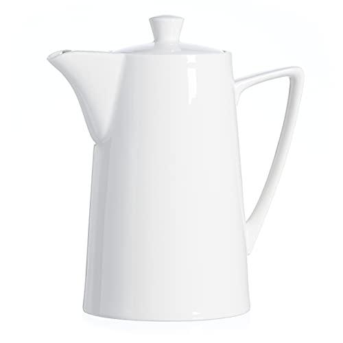 MamboCat Teiera Ontario 1000 ml + coperchio in porcellana I bianco I brocca I Teapot I resistente al calore I lavabile in lavastoviglie I adatto al microonde