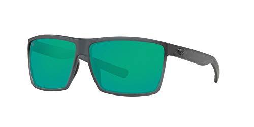 Costa Del Mar Men's Rincon Polarized Rectangular Sunglasses, Matte Smoke Crystal/Copper Green Mirrored Polarized-580G, 63 mm