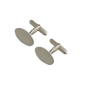 Or Blanc 9ct - 375/1000-19x11mm Boutons de manchette pivotantes ovales lisses