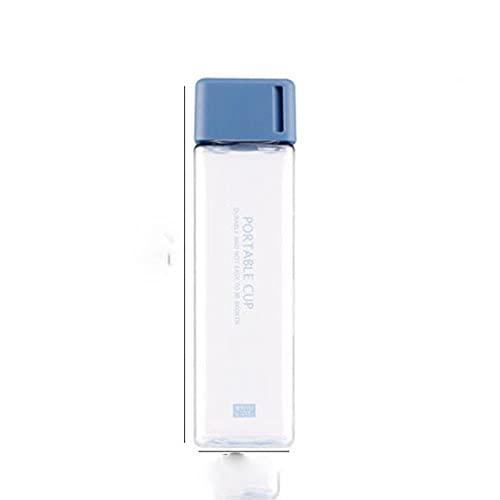 1 taza de agua mate de plástico cuadrado transparente de 500 ml, taza para deportes acuáticos de jugo frío al aire libre con cuerda de leche portátil, taza de agua para deportes, botella de agua