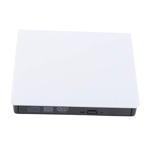 External CD/DVD Drive Type C USB 3.0 Portable Writer RW/ROM Slim ROM Fast Transmission Laptop Desktops - White