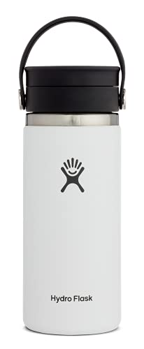 Hydro Flask Termo de café de viaje de 473ml (16 oz), acero inoxidable y doble pared al vacío, boca ancha con tapa Flex Sip hermética, White