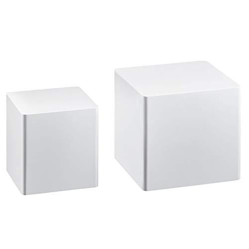 FineBuy Beistelltisch 2er Set Hochglanz Weiß Wohnzimmertisch | Kleiner Anstelltisch Eckig | Satztisch Würfel Modern | Design Tisch Wohnzimmer