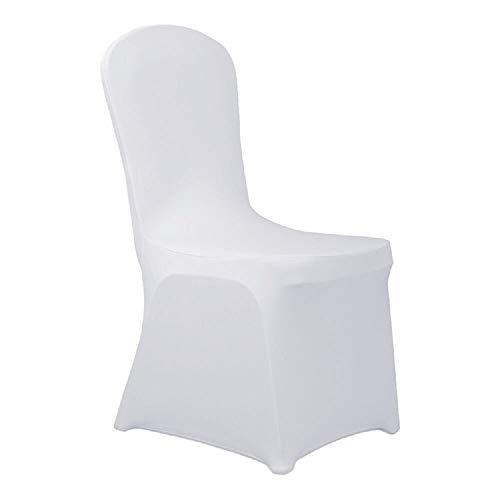 Novhome Lot de 100 housses de chaise blanches en élasthanne Lycra pour salle à manger ou fête d'anniversaire de mariage