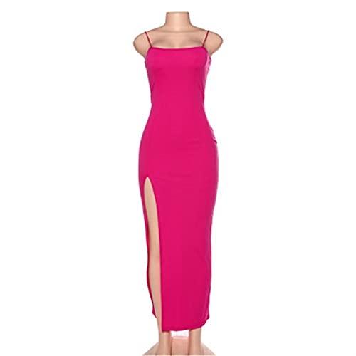Vestido de mujer sin espalda camisola dividida elástica para mujer vestidos ajustados para fiesta Clubwear vestido largo sin mangas (Color : Rose red, Size : Medium)