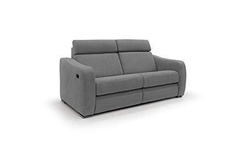Homit Italian Home Interiors Sofa mit elektrischer Relaxfunktion, Modell Gummy, aus weichem Samt, wasserdicht und abnehmbar, hergestellt in Italien (grau, 2-Sitzer)