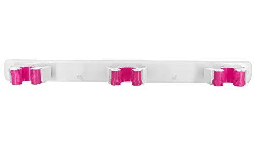 Gerätehalter Wandhalterung | 3 Schnellspanner & 2 Haken | Besen/Mop Halter | Ordnungsleiste Wandhalter | Besenhalter | vielseite...