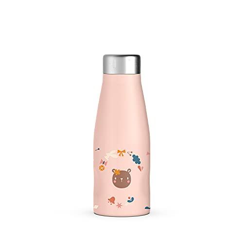 Botella de acero inoxidable de 350 ml. Botella térmica líquida caliente y fría. Mantiene la temperatura durante varias horas. Botella de doble pared. Cierre hermético con rosca.