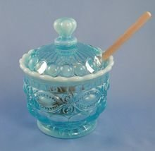 Blue Opalescent Glass Eyewinker Pattern Honey Pot with Lid & Wooden Dipper by Trail Town Finds