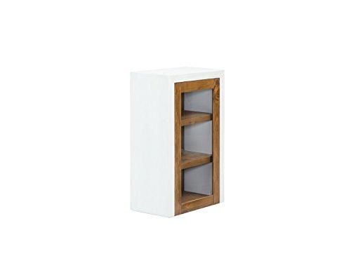 Woodkings® Bad Hängeschrank Burnham Pinie Natur rustikal Glasschrank Möbel Badmöbel Badezimmer Badezimmerschrank Badschrank mit Glastür Landhaus Echtholz (Weiß)