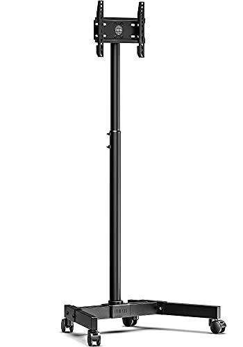 FITUEYES Carrito de TV móvil para 13 '- 42' con Soporte 8 Soporte de TV de Pantalla de Altura Ajustable con Base de Doble Tubo sobre Ruedas bloqueables TT106401MB