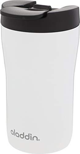 Aladdin Latte Leak-LockTM Edelstahl-Thermobecher, 0.25 Liter, Weiß, 100% Auslaufsicher und verriegelbar, passt unter Vollautomat und Kapselmaschine
