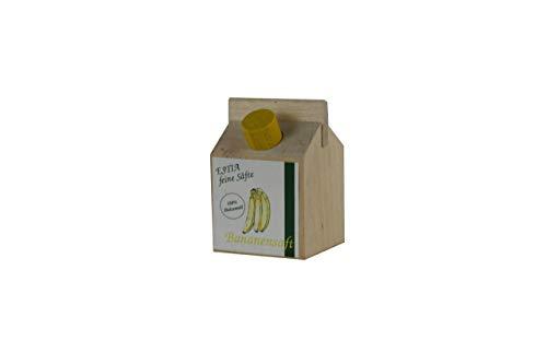 Bananensaft, kleine Fruchtsafttüte aus Holz, Kaufladenzubehör