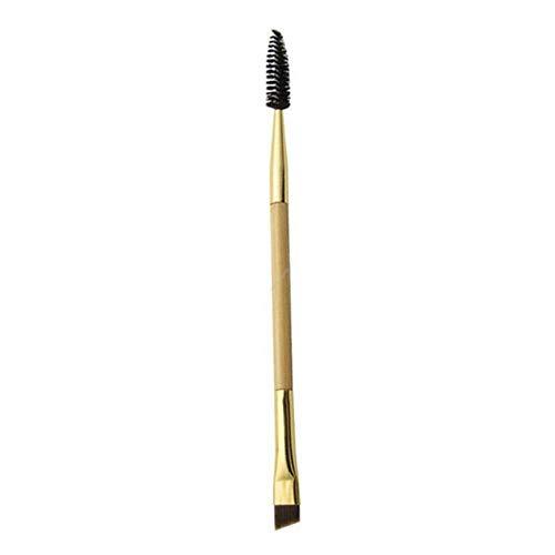 1 pinceau de maquillage professionnel à double extrémité avec manche en bois doré et fibre de nylon pour fard à paupières, sourcils